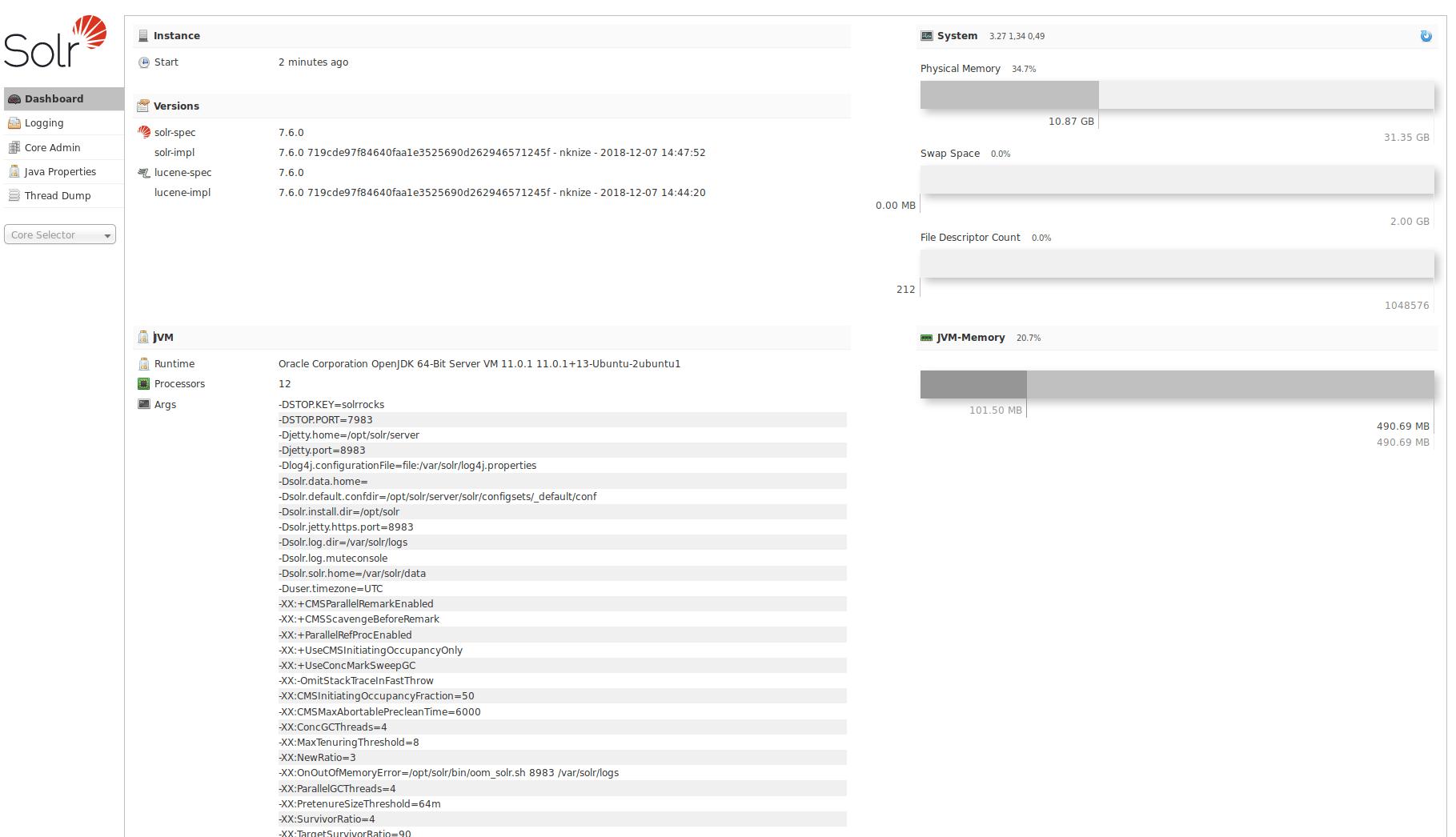 Solr.7.6.0 Installation Browseransicht Ubuntu